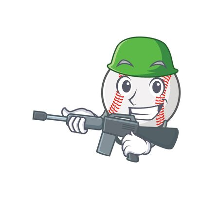 Cartoon baseball with in a character army  イラスト・ベクター素材