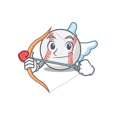 Cartoon baseball with in a character cupid