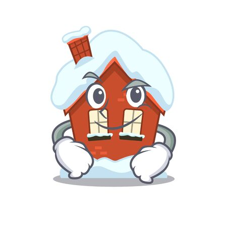 Winter house in the cartoon shape smirking 일러스트