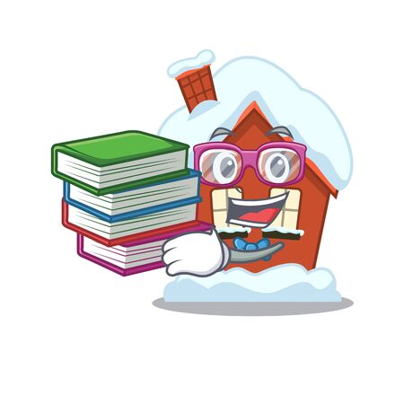 Student bring book winter house with in character shape