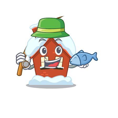 Mascot winter house a cartoon isolated fishing