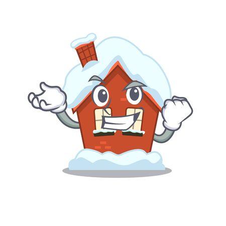 Winter house in the cartoon shape successful