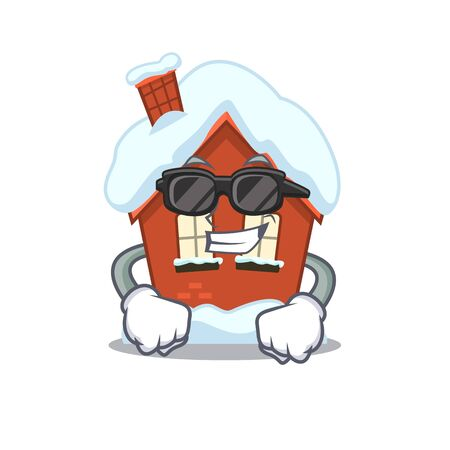 Winter house in the cartoon shape super cool 일러스트
