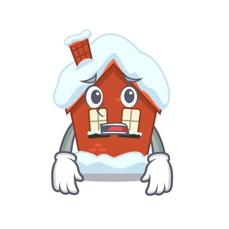 Mascot winter house a cartoon isolated afraid