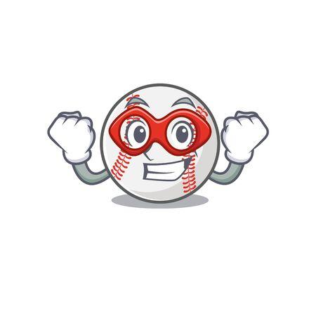 Mascot cartoon baseball the in super hero shape