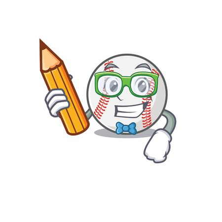 Mascot cartoon baseball the in student holding pencil shape