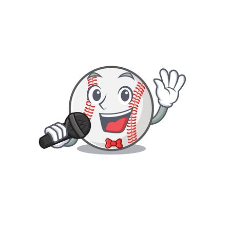 Character isolated baseball with a singing cute
