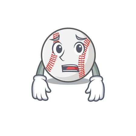 Character isolated baseball with a afraid cute