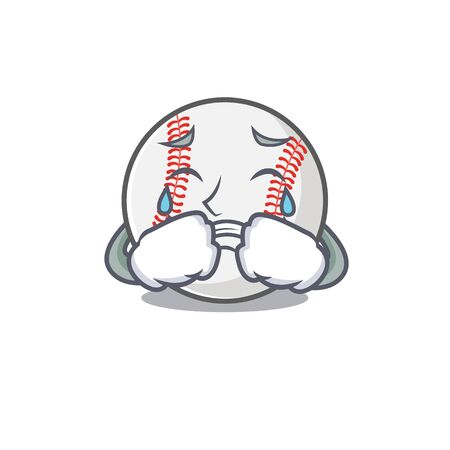 Character isolated baseball with a crying cute