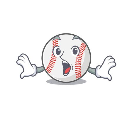 Character isolated baseball with a surprised cute