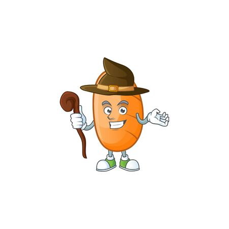 Long loaf cartoon character with witch mascot