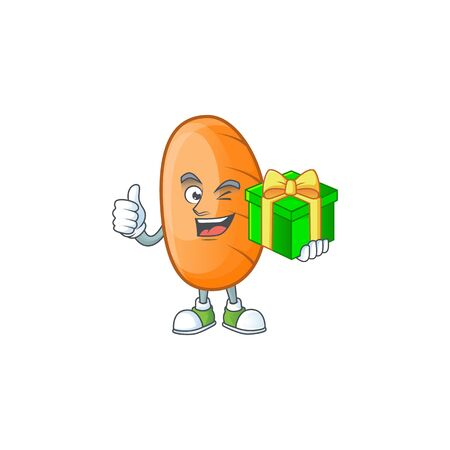 Long loaf cartoon character with holding gift mascot