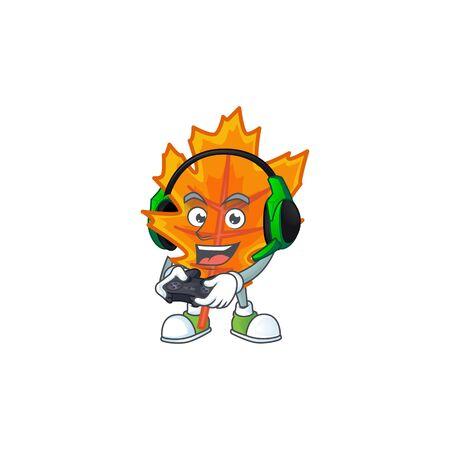 Mascot a bring gaming in the cartoon orange autumn leaves