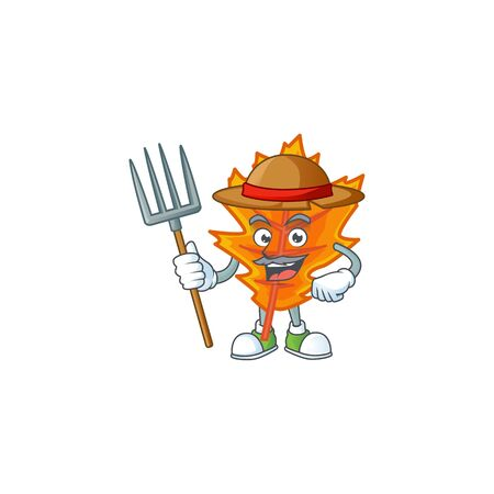 Mascot a farmer in the cartoon orange autumn leaves