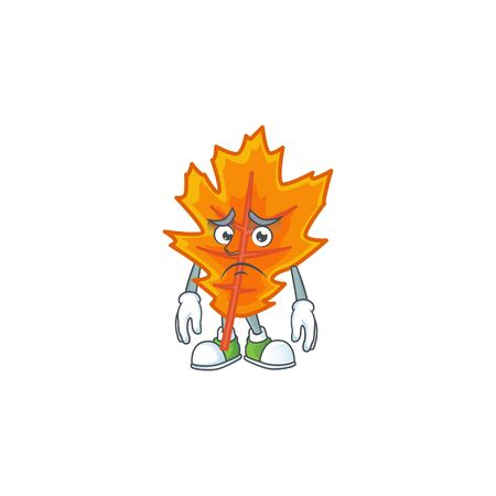 Orange autumn leaves cartoon with afraid mascot
