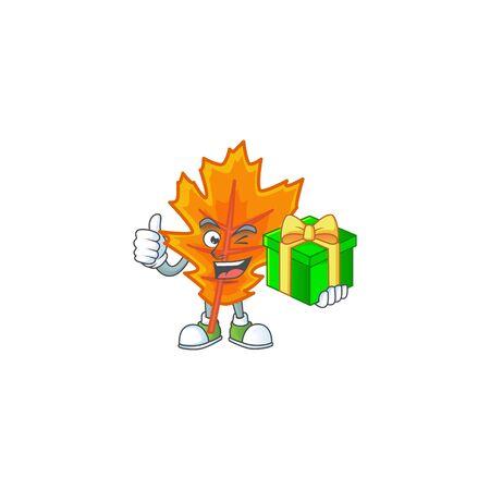 Orange autumn leaves cartoon with holding gift mascot