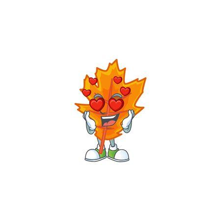 Orange autumn leaves cartoon with in love mascot