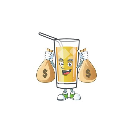 Cartoon sweet apple cider with holding money bag mascot