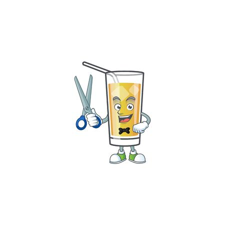 Cartoon sweet apple cider with barber mascot Ilustrace