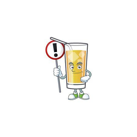 Cartoon sweet apple cider with sign warning mascot Illustration