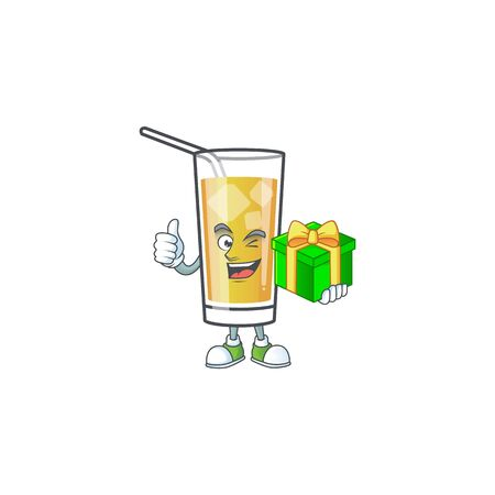 Character holding gift in the apple cider cartoon