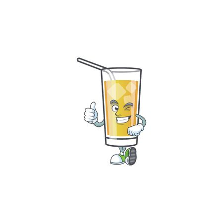 Cartoon apple cider with the character thumbs up