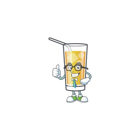 Cartoon apple cider with the character businessman