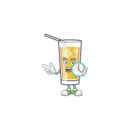 Cartoon apple cider with the character with bring clock Çizim