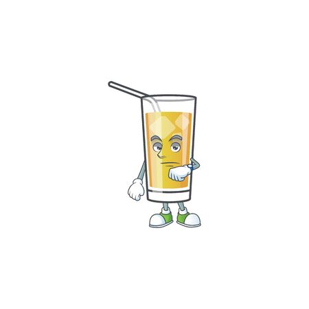 Apple cider cartoon with mascot character waiting