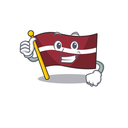 Flag latvia cartoon with in thumbs up character . Vector illustration