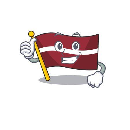 Flag latvia cartoon with in thumbs up character . Vector illustration Reklamní fotografie - 133892408