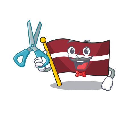 Mascot flag latvia with in barber character . Vector illustration