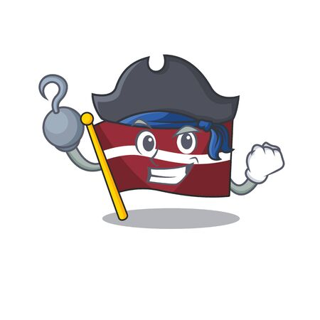 Mascot flag latvia with in pirate character . Vector illustration Illustration