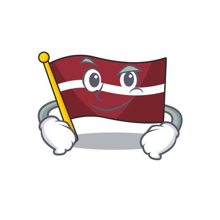 Flag latvia cartoon with in smirking character . Vector illustration