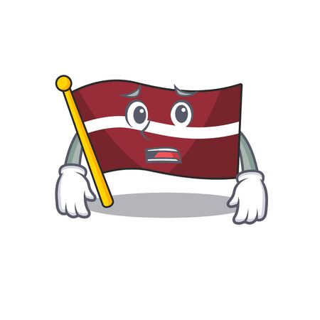 Cartoon flag latvia isolated in character afraid . Vector illustration