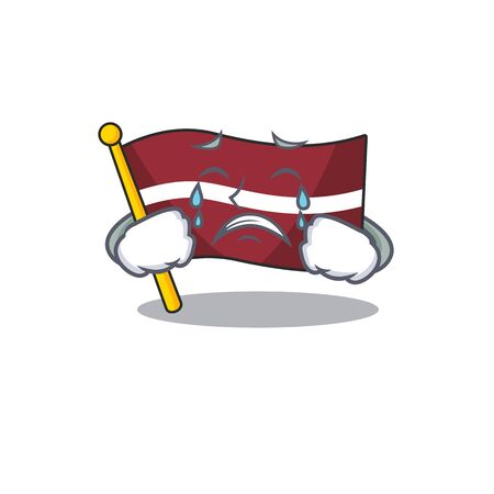 Cartoon flag latvia isolated in character crying . Vector illustration Illustration