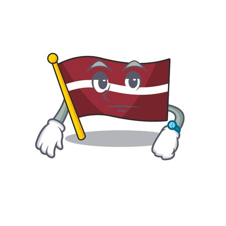 Waiting cartoon flag latvia in with mascot . Vector illustration