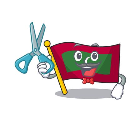 Flag maldives cartoon with in barber character. Vector illustration