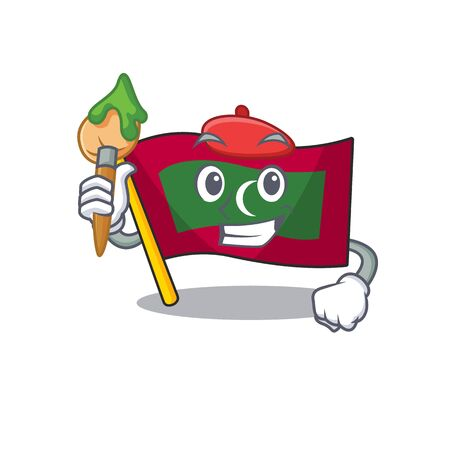 Flag maldives cartoon with in painter character. Vector illustration