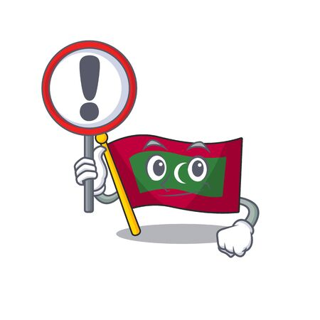 Flag maldives cartoon with in with sign warning character. Vector illustration  イラスト・ベクター素材
