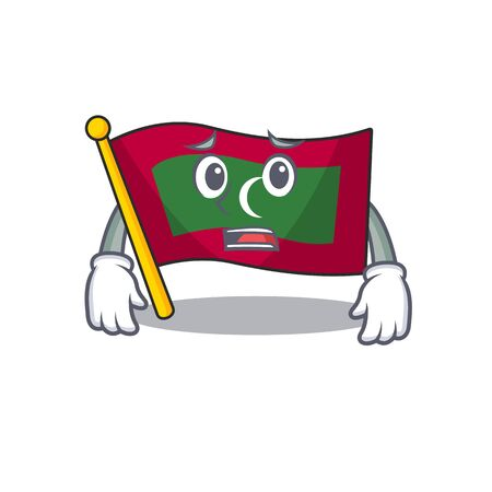 Mascot flag maldives with in afraid character . Vector illustration Ilustração