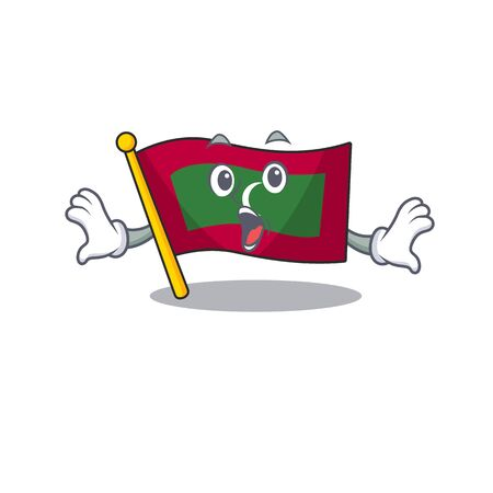 Mascot flag maldives with in surprised character . Vector illustration