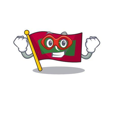 Cartoon flag maldives isolated in character super hero . Vector illustration