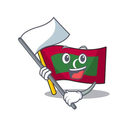 Bring flag cartoon flag maldives in with mascot . Vector illustration