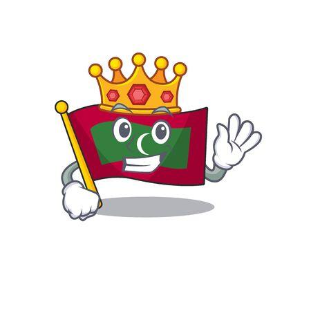 King cartoon flag maldives in with mascot . Vector illustration