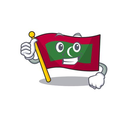 Cartoon flag maldives with thumb up isolated in character . Vector illustration Reklamní fotografie - 133892739
