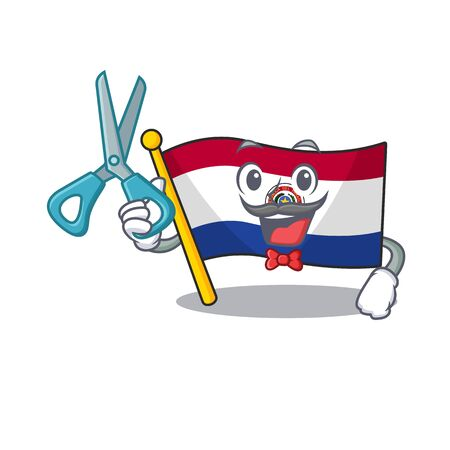 Barber cartoon flag paraguay in with mascot. Vector illustration
