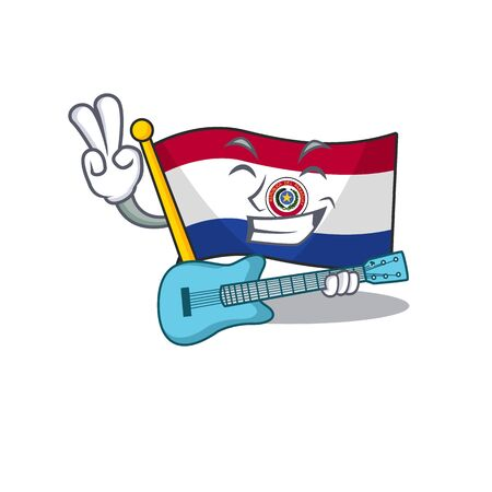 Mascot flag paraguay with in holding gift character Illustration