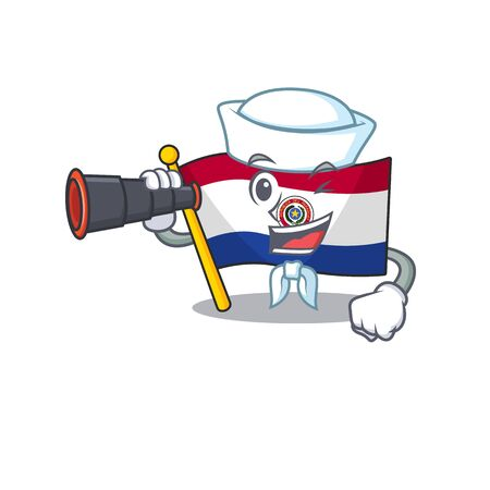 Mascot flag paraguay with in holding money character