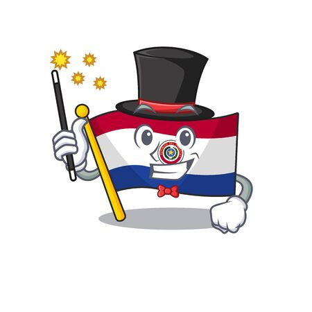Flag paraguay cartoon with in magician character . Vector illustration 일러스트